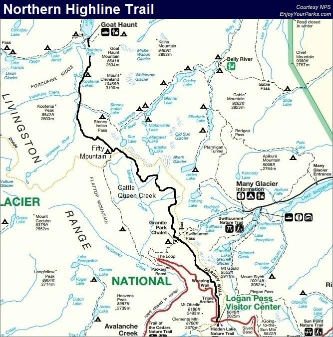 Northern Highline Trail Map, Glacier Park Map