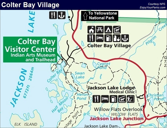 Colter Bay Village, Grand Teton Lodging, Grand Teton National Park Map