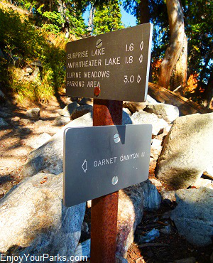 Amphitheater Lake / Garnet Canyon Trail Junction sign, Grand Teton National Park