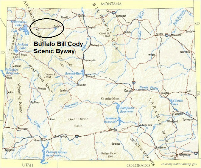 Wyoming Map, Buffalo Bill Cody Scenic Byway, Wyoming