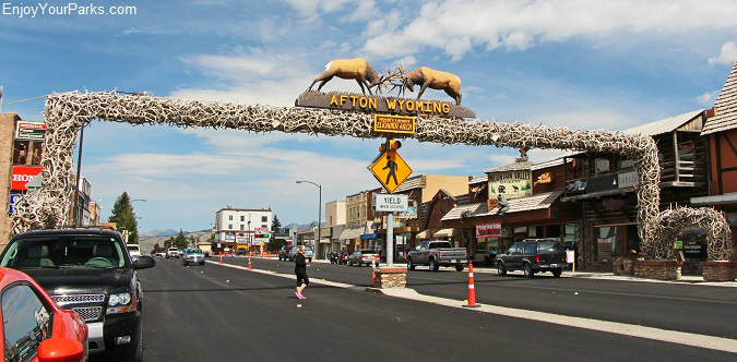 The world's largest elk antler arch in downtown Afton Wyoming.