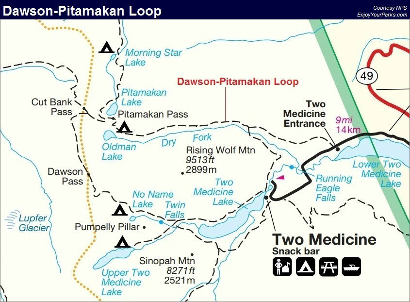 Dawson-Pitamakan Loop Trail Map, Glacier National Park Map