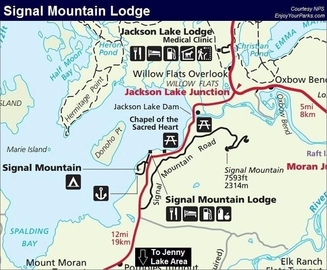 Signal Mountain Lodge, Grand Teton Lodging Facilities, Grand Teton National Park Map