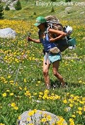 Hiker in the Wind River Range, Wyoming
