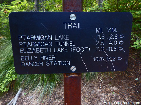 Ptarmigan Tunnel Trail sign, Glacier National Park