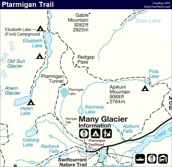 Ptarmigan Trail Map, Glacier National Park Map