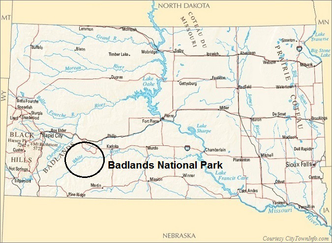 South Dakota Map- Badlands National Park Map