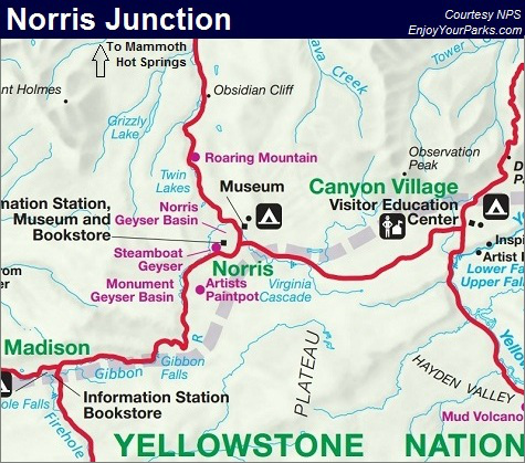 Norris Junction Map, Yellowstone National Park Map