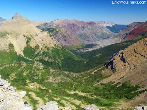 Hudson Bay Creek Valley as seen from Triple Divide Peak, Glacier National Park