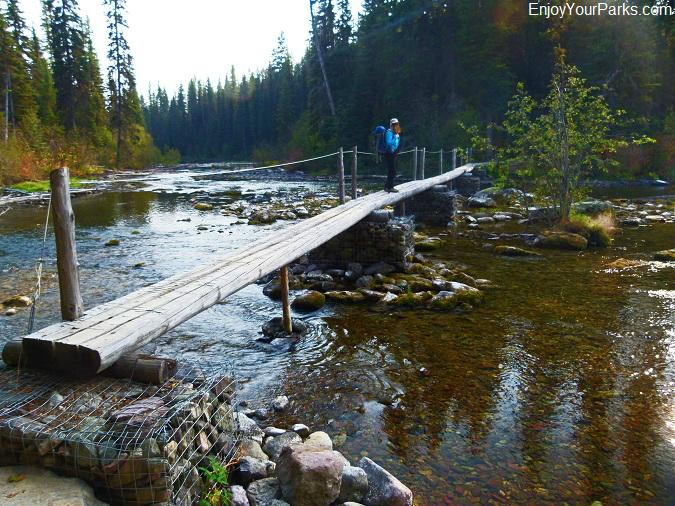 Lower Quartz Lake foot bridge, Quartz Lake Loop Trail, Glacier National Park