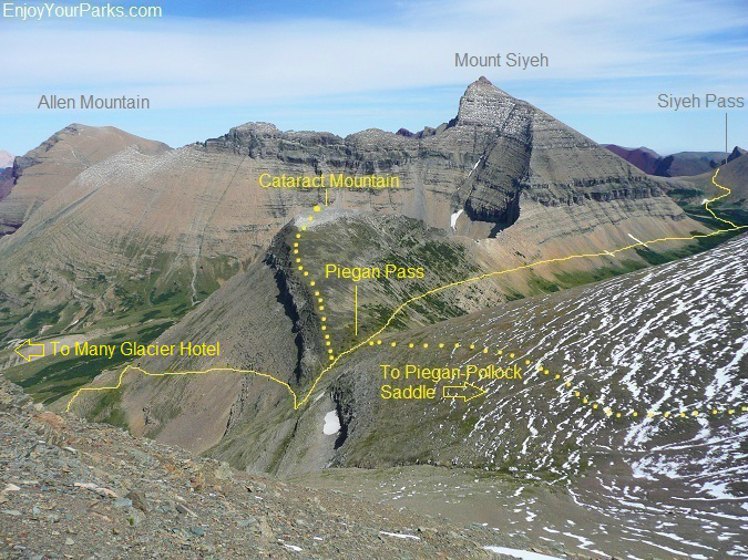 Routes to Cataract Mountain and Piegan Saddle from Piegan Pass in Glacier Park