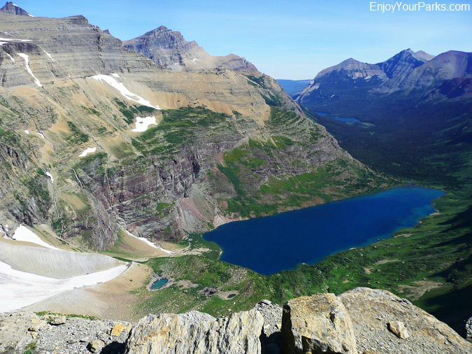 View of Helen Lake from Ahern Pass in Glacier Park