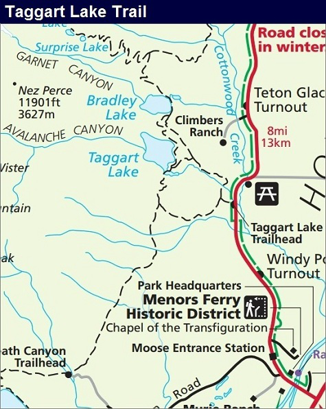 Taggart Lake Trail Map, Grand Teton National Park Map