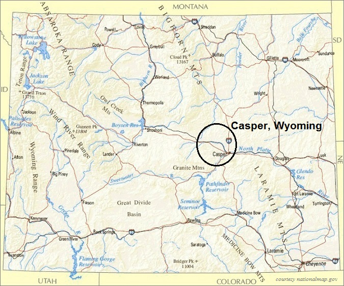 Wyoming Map, Casper Area