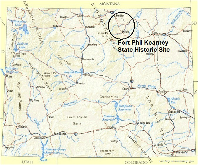 Wyoming Map, Fort Phil Kearny State Historic Site