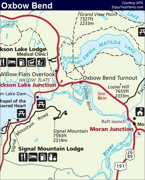 Oxbow Bend Map, Grand Teton National Park Map