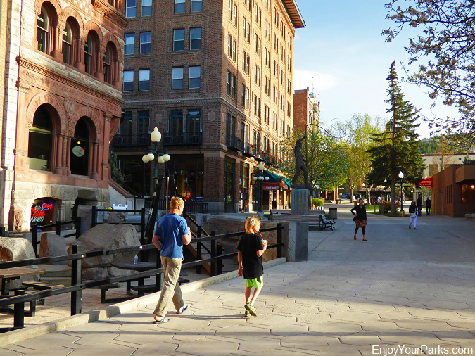 Visitors enjoying Last Chance Gulch, Helena Historic District.