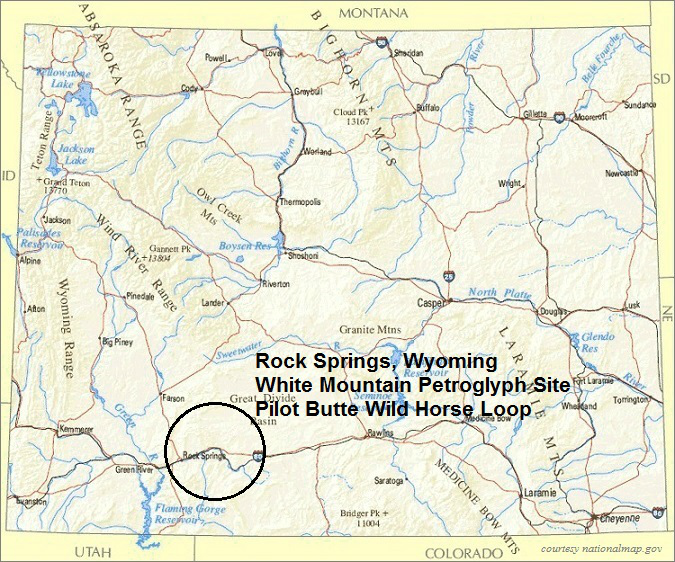Wyoming Map, Rock Springs Area