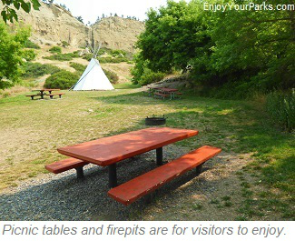 Pictograph Cave State Park  picnic tables and firepits