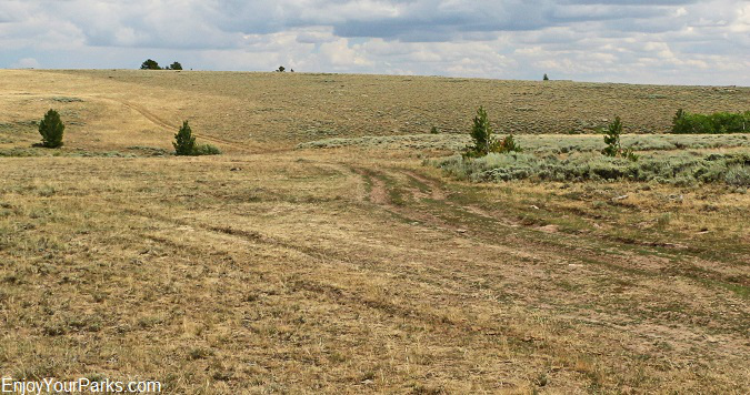 Original wagon ruts along the Oregon Trail on South Pass