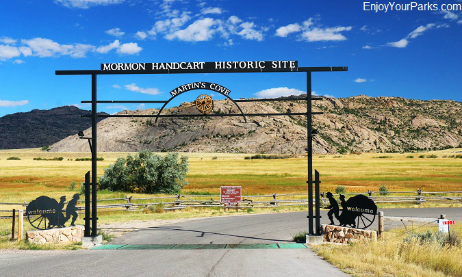 Mormon Handcart Historic Site with Martin's Cove in the background