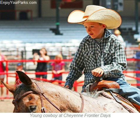 Young cowboy at Cheyenne Frontier Days Rodeo, Wyoming