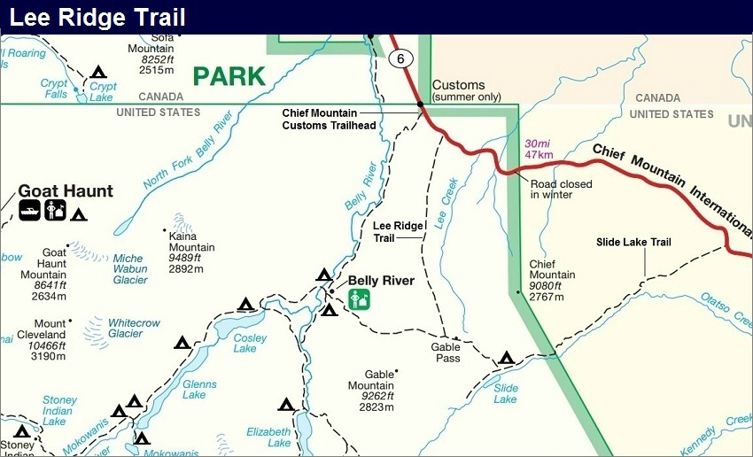 Lee Ridge Trail Map, Glacier Park Map