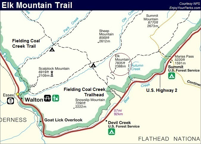 Elk Mountain Trail Map, Glacier National Park Map
