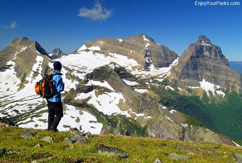 Glacier National Park, Montana: View of Kintla Peak Area from the summit of Boulder Peak.