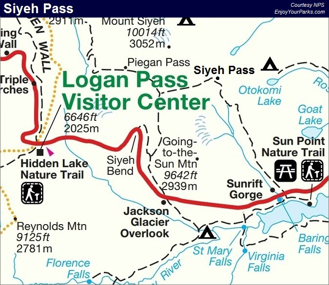 Siyeh Pass Trail Map, Glacier National Park Map