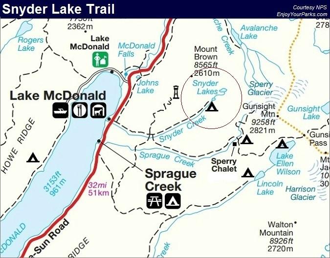 Snyder Lake Trail, Glacier National Park Map