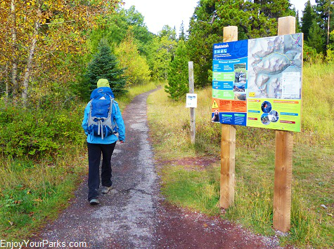Blakiston Valley trailhead sign, Red Rock Parkway, Waterton Lakes National Park