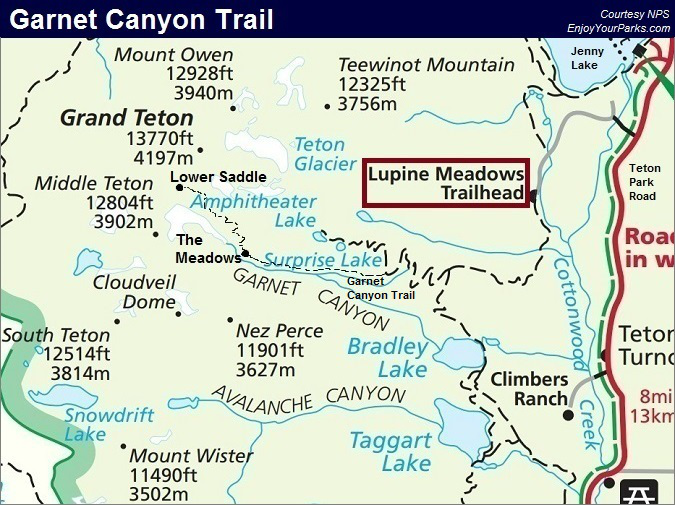 Garnet Canyon Trail Map, Grand Teton National Park Map