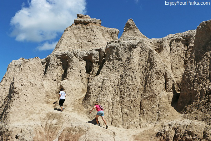 Hikers enjoying Badlands National Park in South Dakota