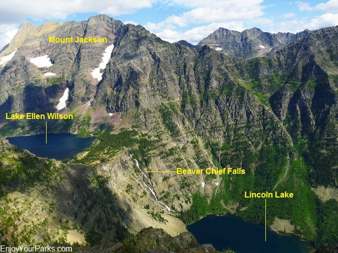 View of Lake Ellen Wilson, Lincoln Lake and Beaver Chief Falls from the summit of Lincoln Peak in Glacier Park