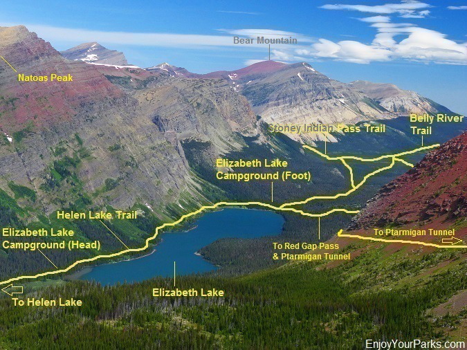 Belly River Valley and Elizabeth Lake, Glacier National Park
