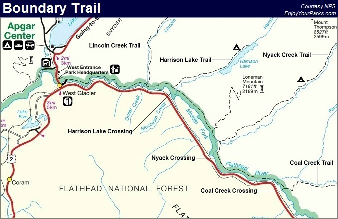 Boundary Trail Map, Glacier National Park Map