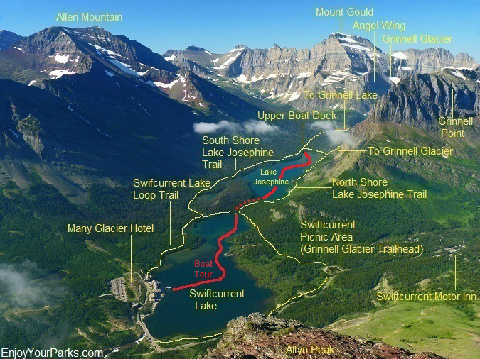 View of the Many Glacier Area from the summit of Altyn Peak in Glacier National Park