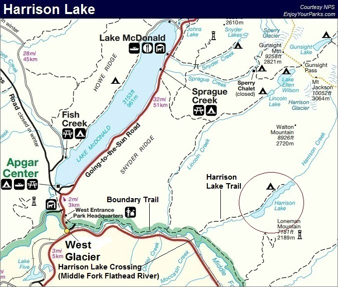 Harrison Lake Trail Map, Glacier National Park Map