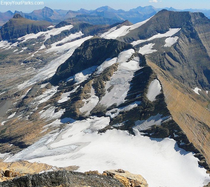 Mount Jackson summit view of Jackson Glacier, Glacier National Park