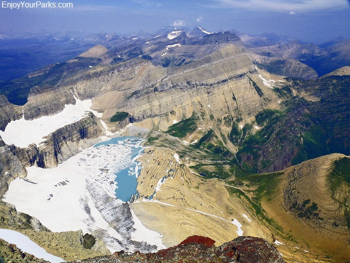 Mount Gould summit view of Grinnell Glacier, Glacier National Park
