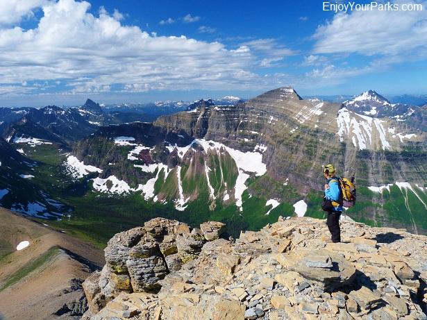Flinsch Peak summit view, Glacier National Park.