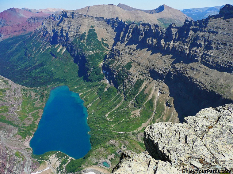 Helen Lake from the summit of Ahern Peak, Glacier National Park