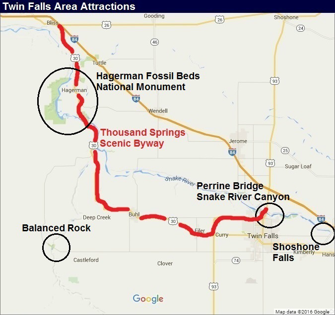 Idaho Map: Twin Falls Area of Top Attractions
