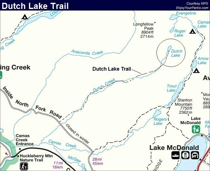 Dutch Lake Trail Map, Glacier National Park Map