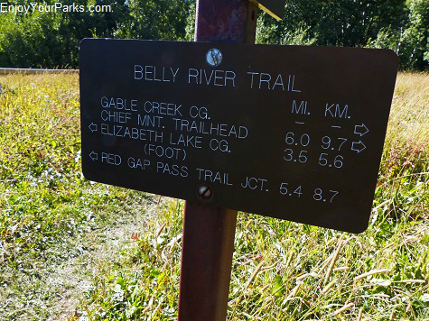 Belly River Trail sign, Glacier National Park