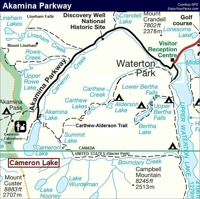 Akamina Parkway Map, Waterton Lakes National Park Map