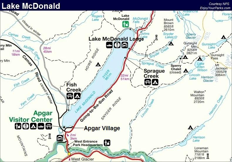 Lake McDonald Area, Glacier National Park Map