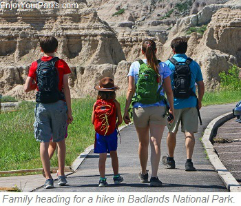 Hikers, Badlands National Park, South Dakota