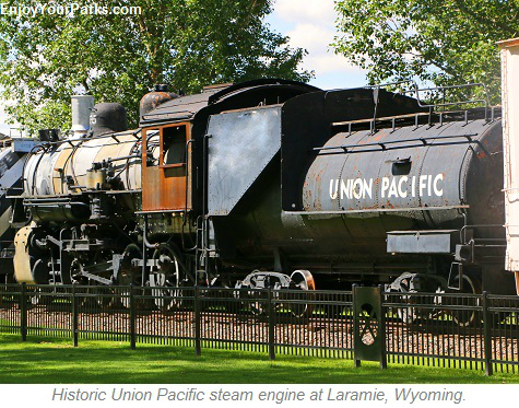 Historic Union Pacific steam engine at Laramie, Wyoming